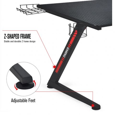 GTRACING 44 Inch Gaming Desk GTZ03-BLACK adjustable feet