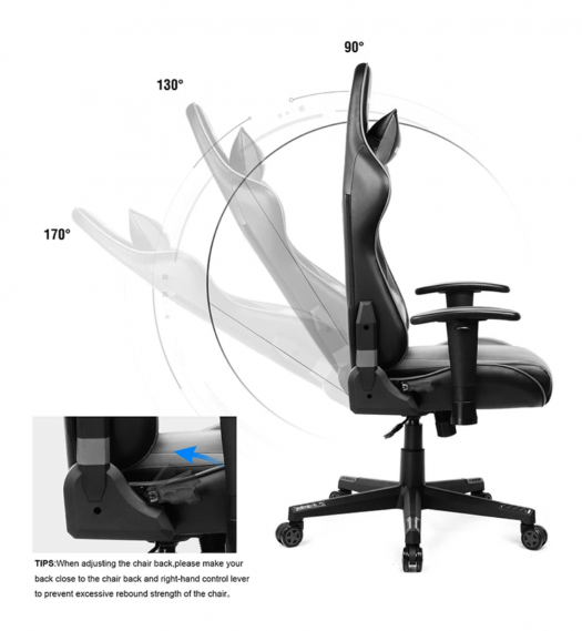 PRO Series __ GT002-GRAY gaming chair side view