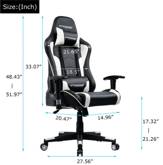 Music SERIES __ GT890M-WHITE music gaming chair dimensions